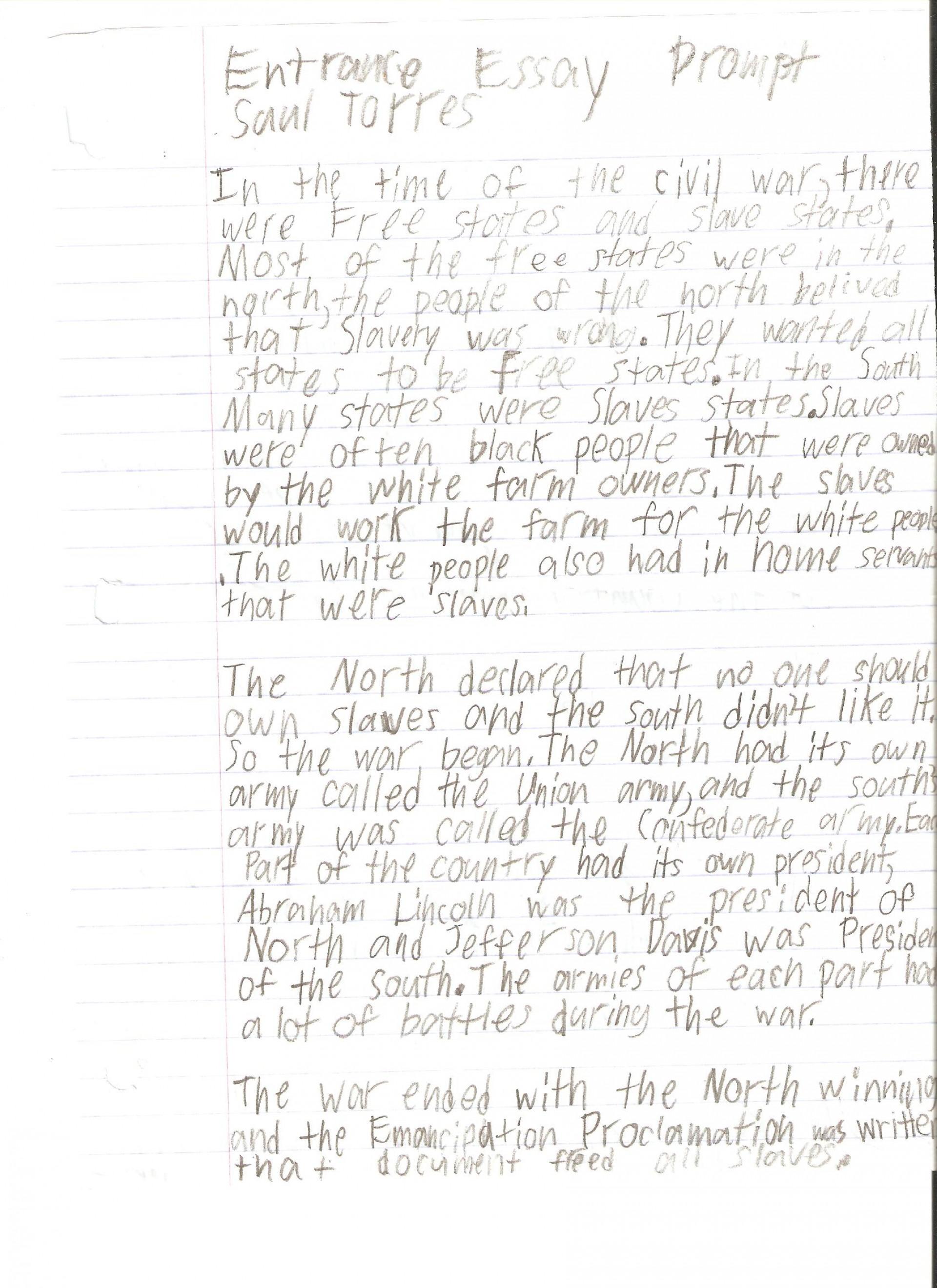009 Saul Torres Essay Example 6th Grade Fantastic Examples Informative Personal 1920