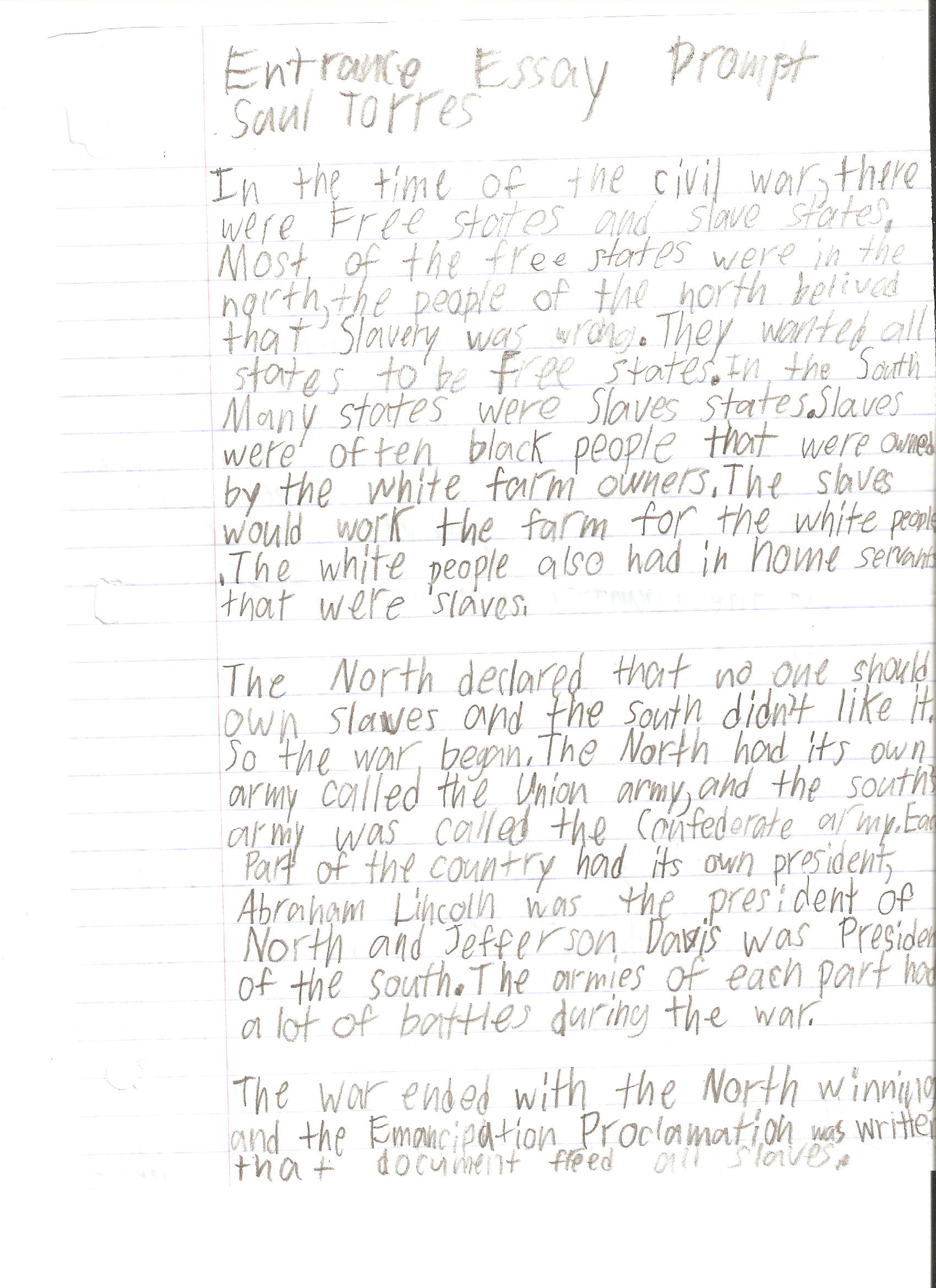 009 Saul Torres Essay Example 6th Grade Fantastic Examples Narrative Writing Literary Full