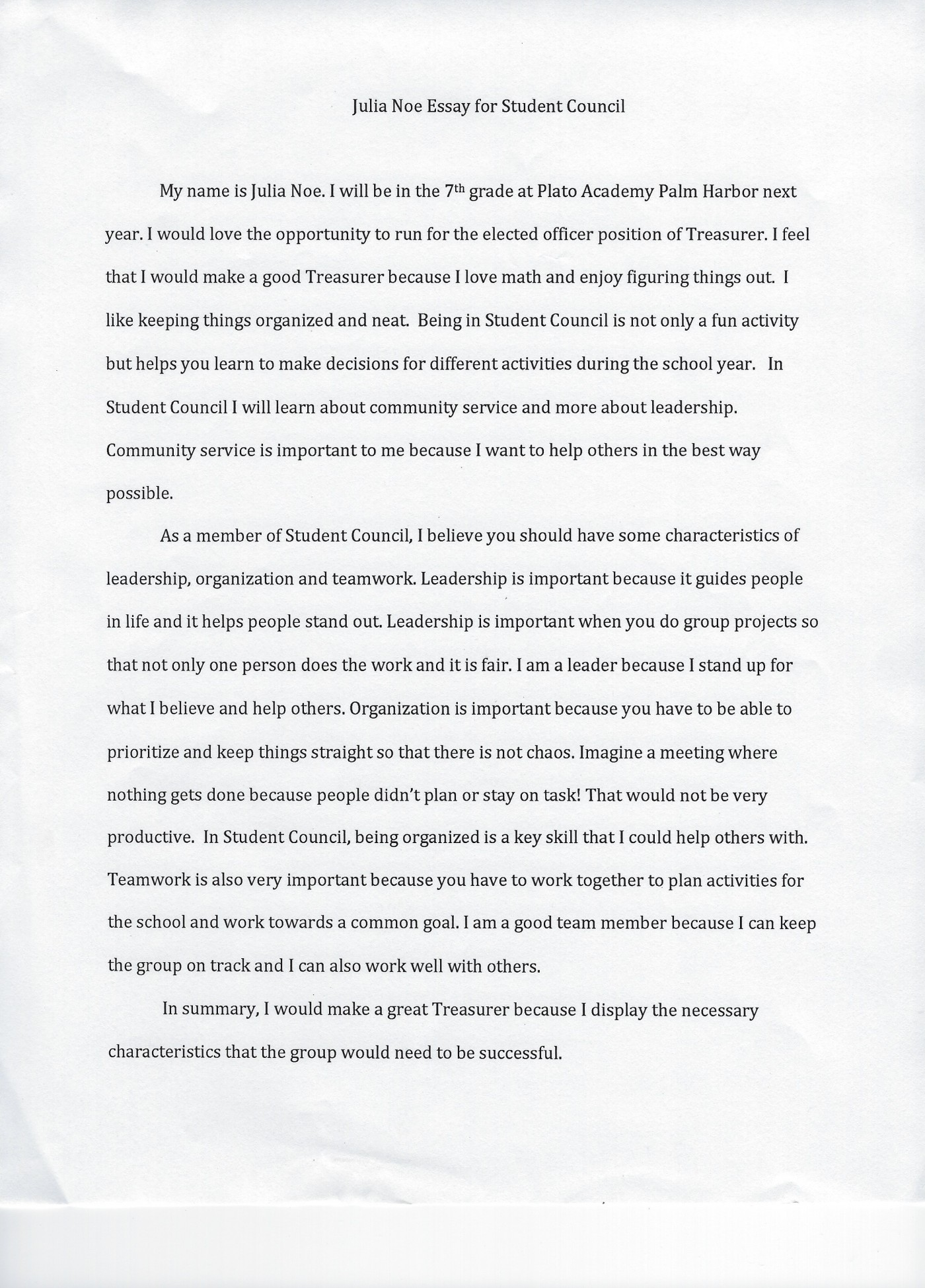009 Student Council Essay Example Treasurer Noe Phenomenal Rubric Conclusion 1400