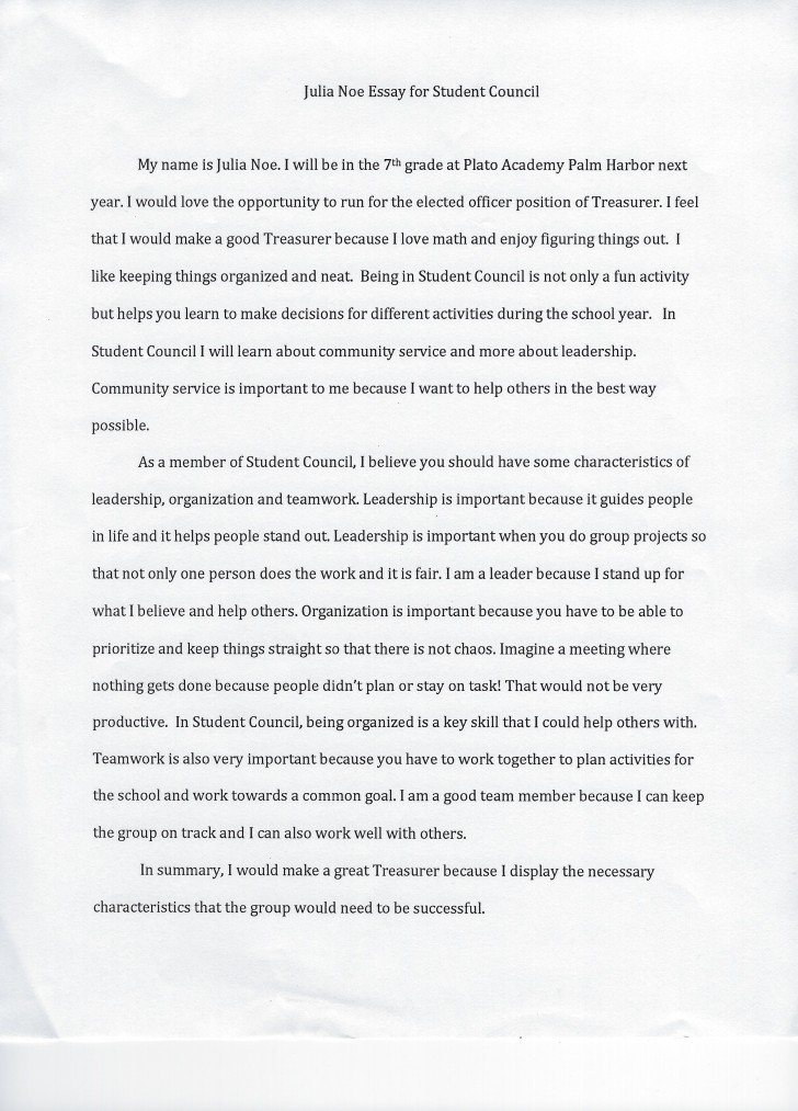 009 Student Council Essay Example Treasurer Noe Phenomenal Rubric President Conclusion 728