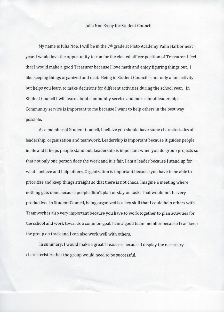 009 Student Council Essay Example Treasurer Noe Phenomenal Rubric Conclusion 868