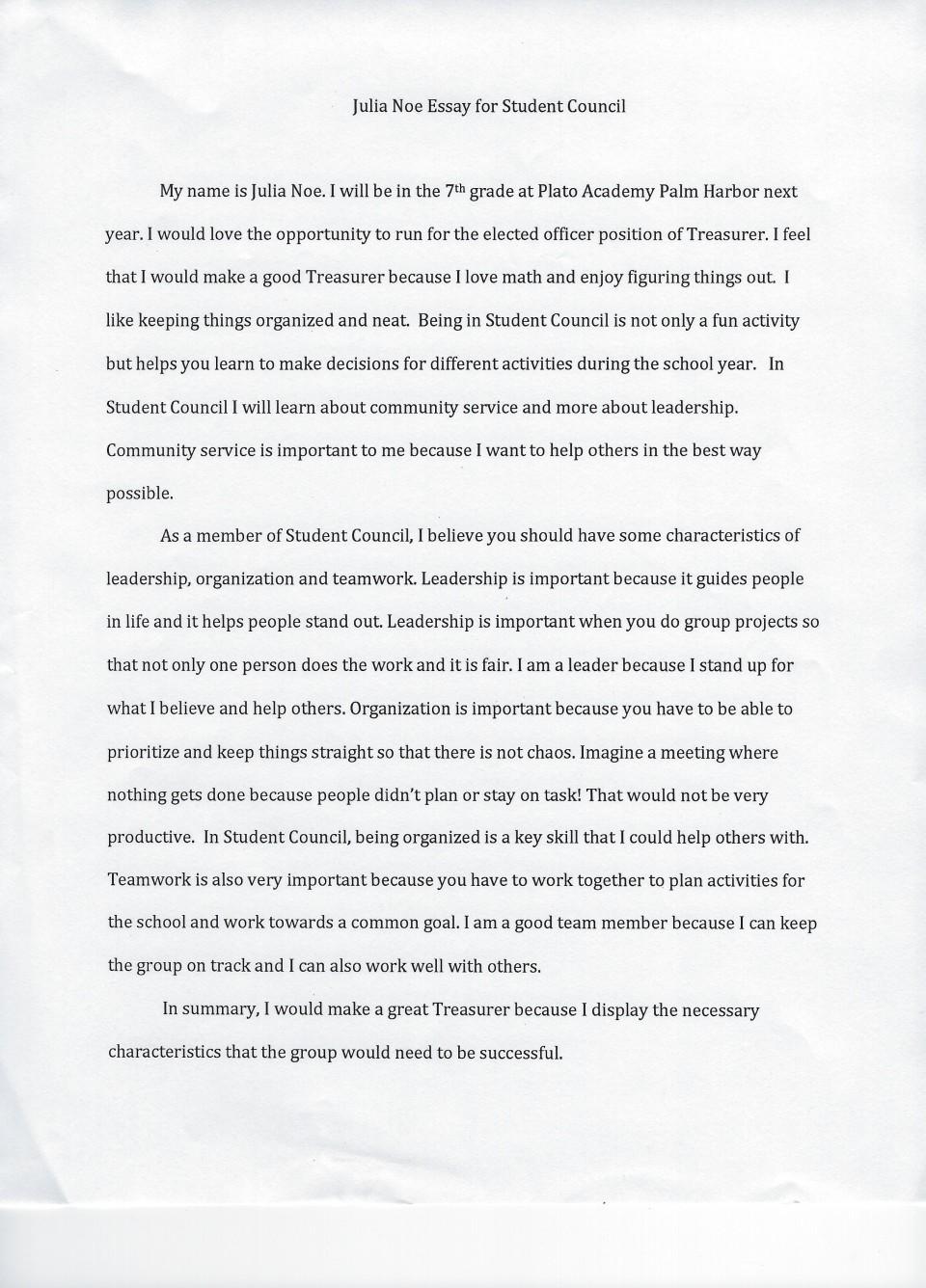 009 Student Council Essay Example Treasurer Noe Phenomenal Rubric President Conclusion 960