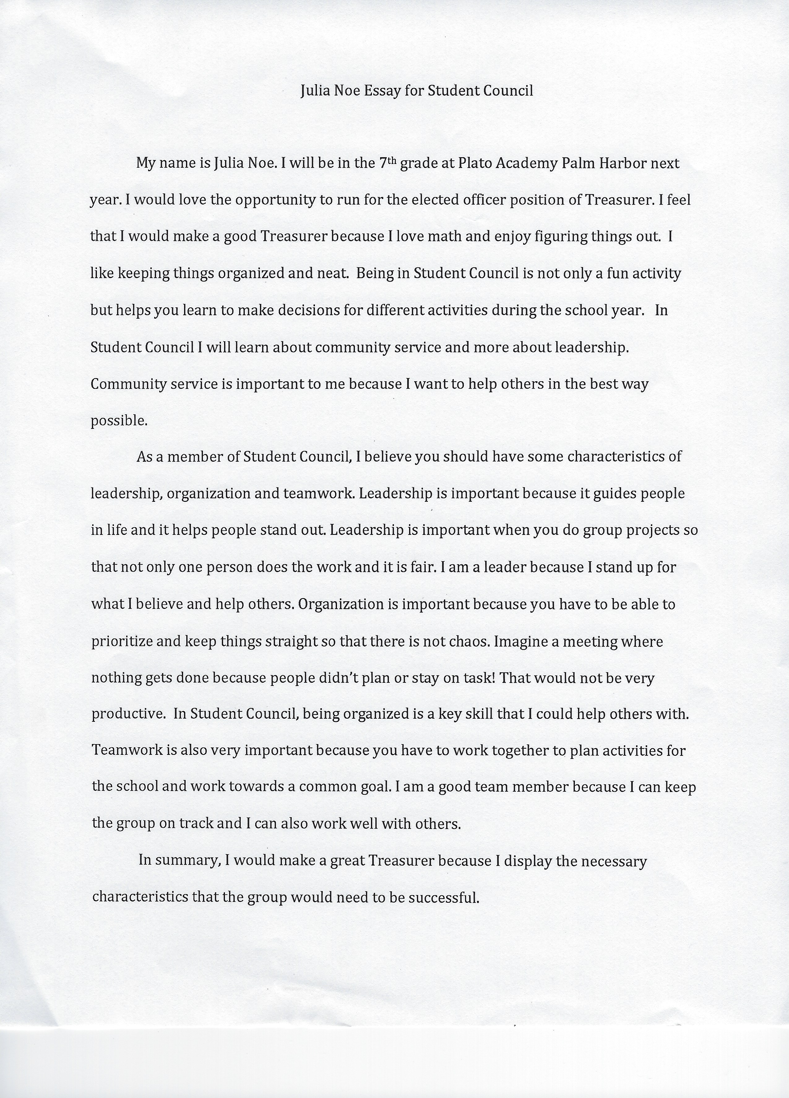 009 Student Council Essay Example Treasurer Noe Phenomenal Rubric Conclusion Full