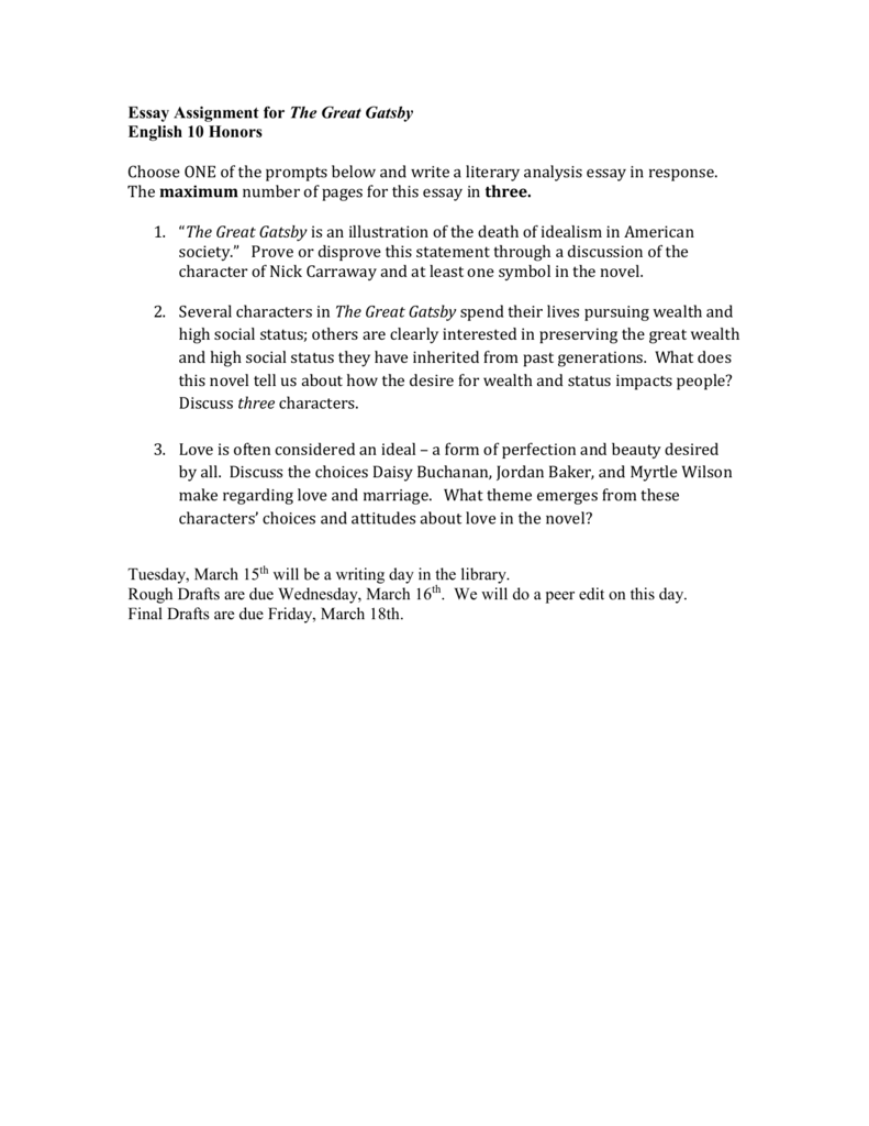 009 The Great Gatsby Essay Topics 008043914 1 Exceptional Literary Question Chapter Full