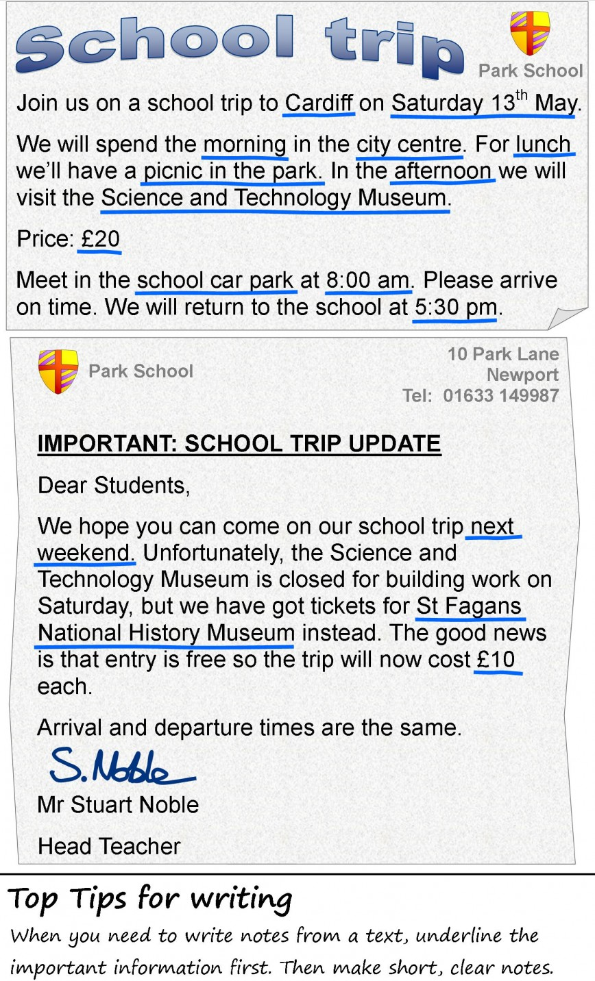 009 The School Trip 4 Essay Example My Favourite Newspaper In Striking English 868