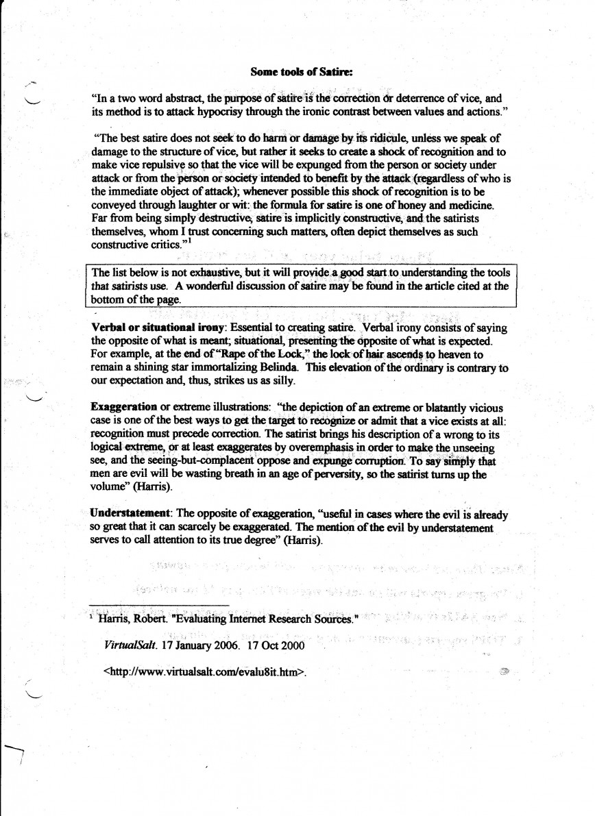 009 Writing Satirical Essay How Write Satire Handout Topics For Essays Top A Sample Example