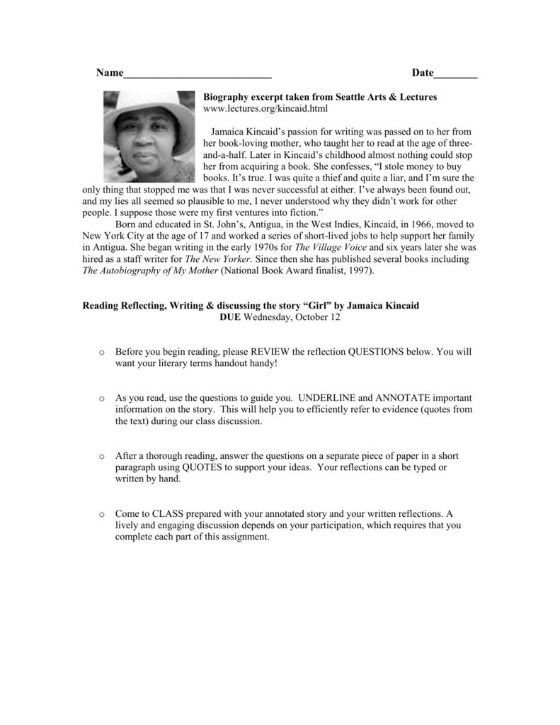 010 008004157 1 Girl By Jamaica Kincaid Essay Marvelous Full