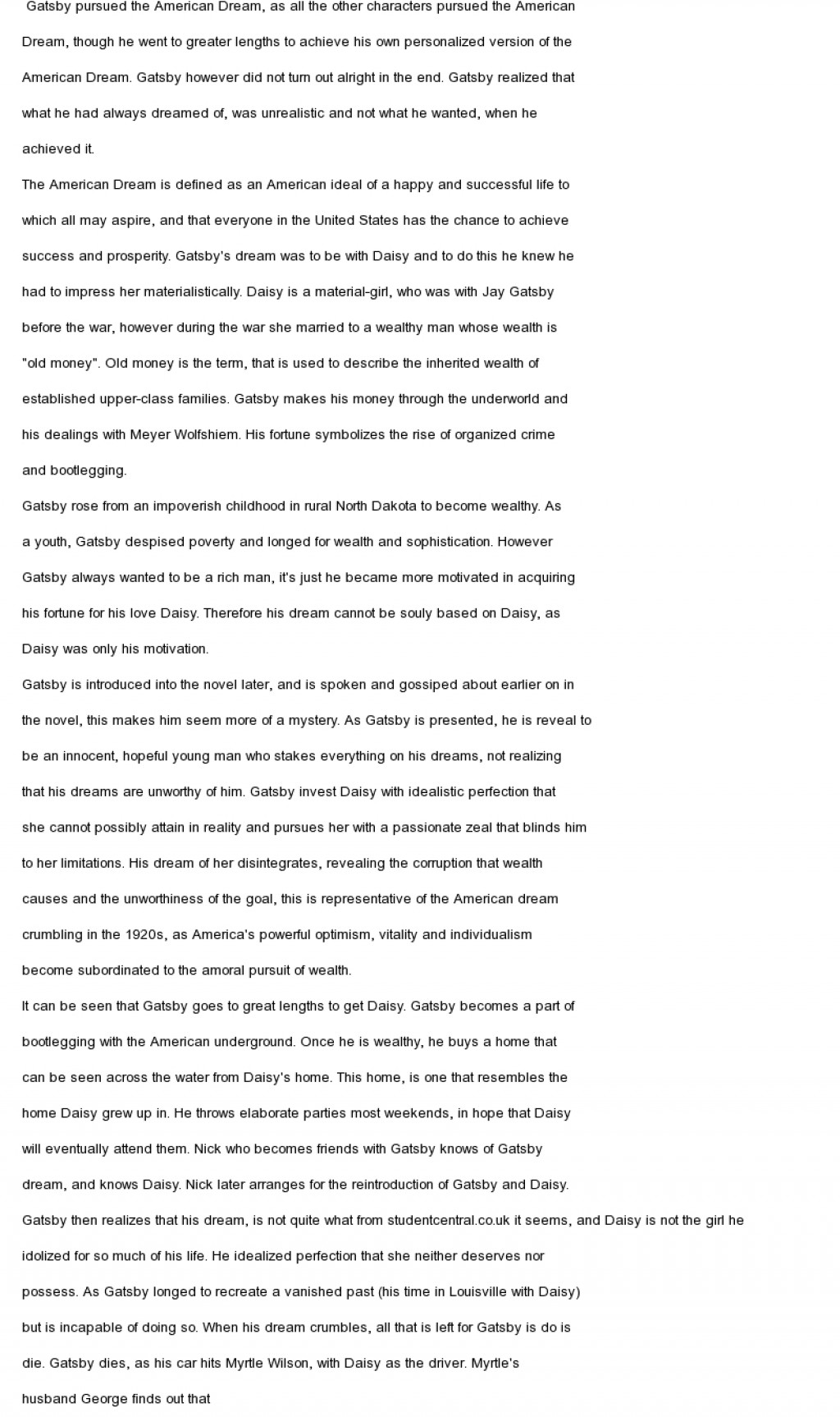 010 American Dream Essay Example Gatsby And The Unique Conclusion Thesis Great Large