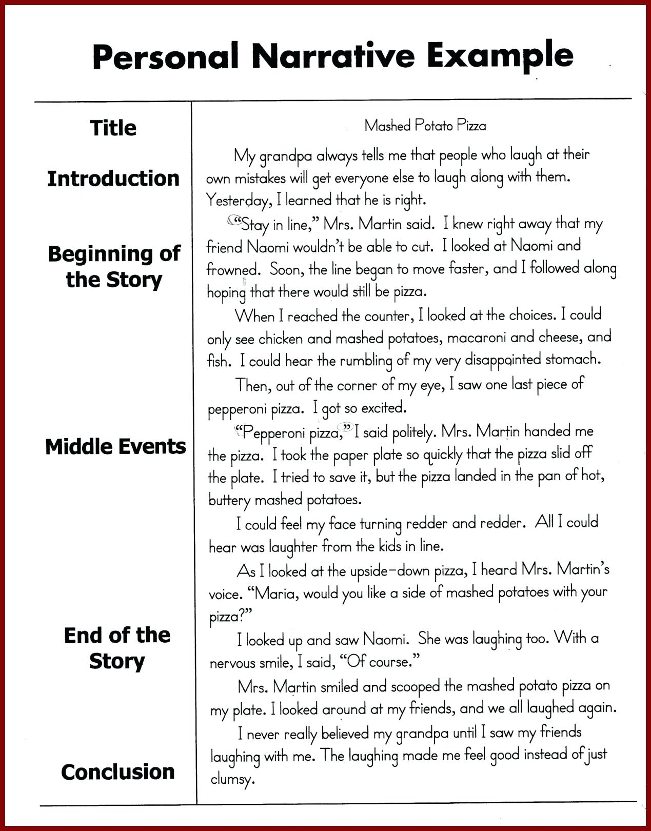 personal narratives examples