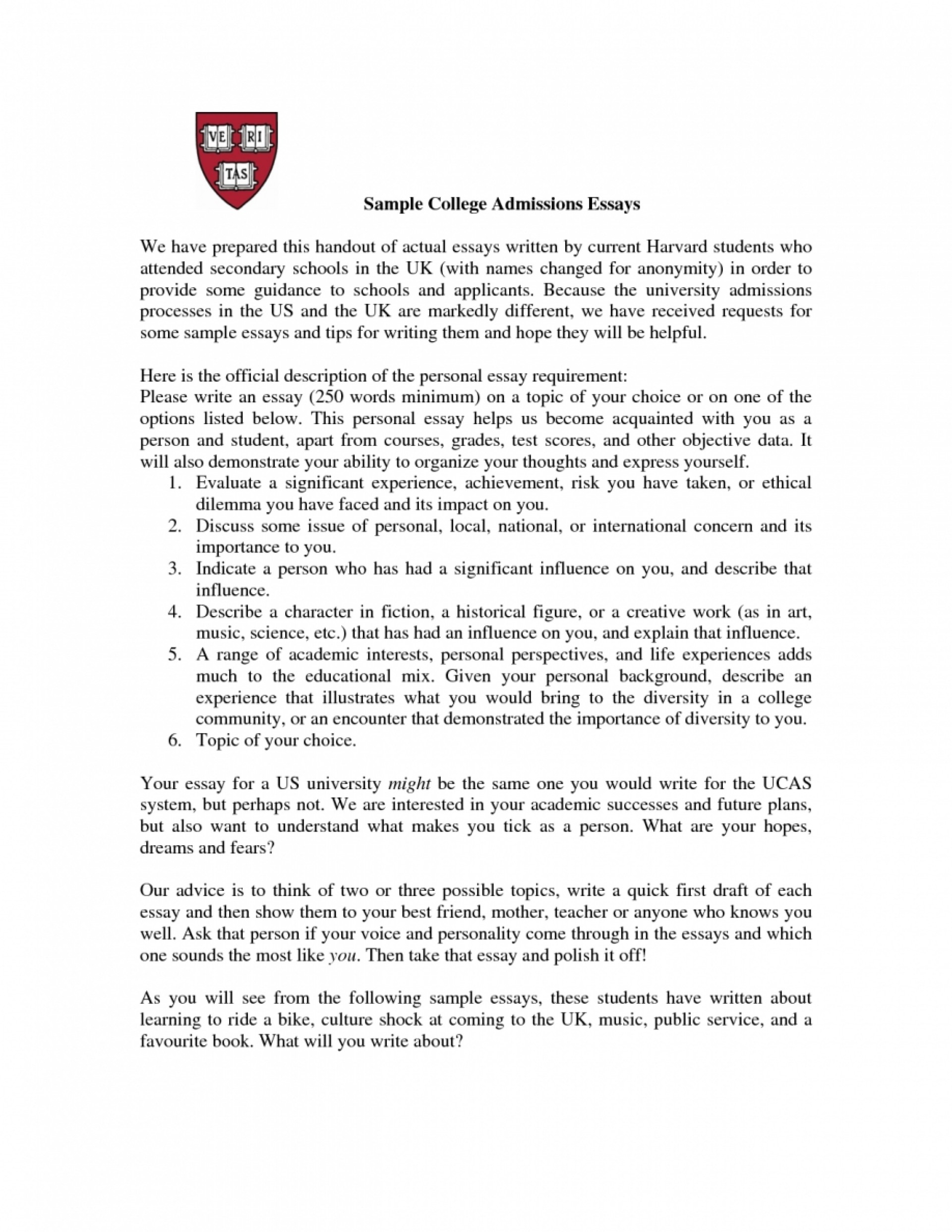 010 College Admissions Essay Sample About Yourself Nemetas Finding Topics Writing Best Essays Talk Tell Us Outline Prompts Me Admission Rare Service App Harvard 1920