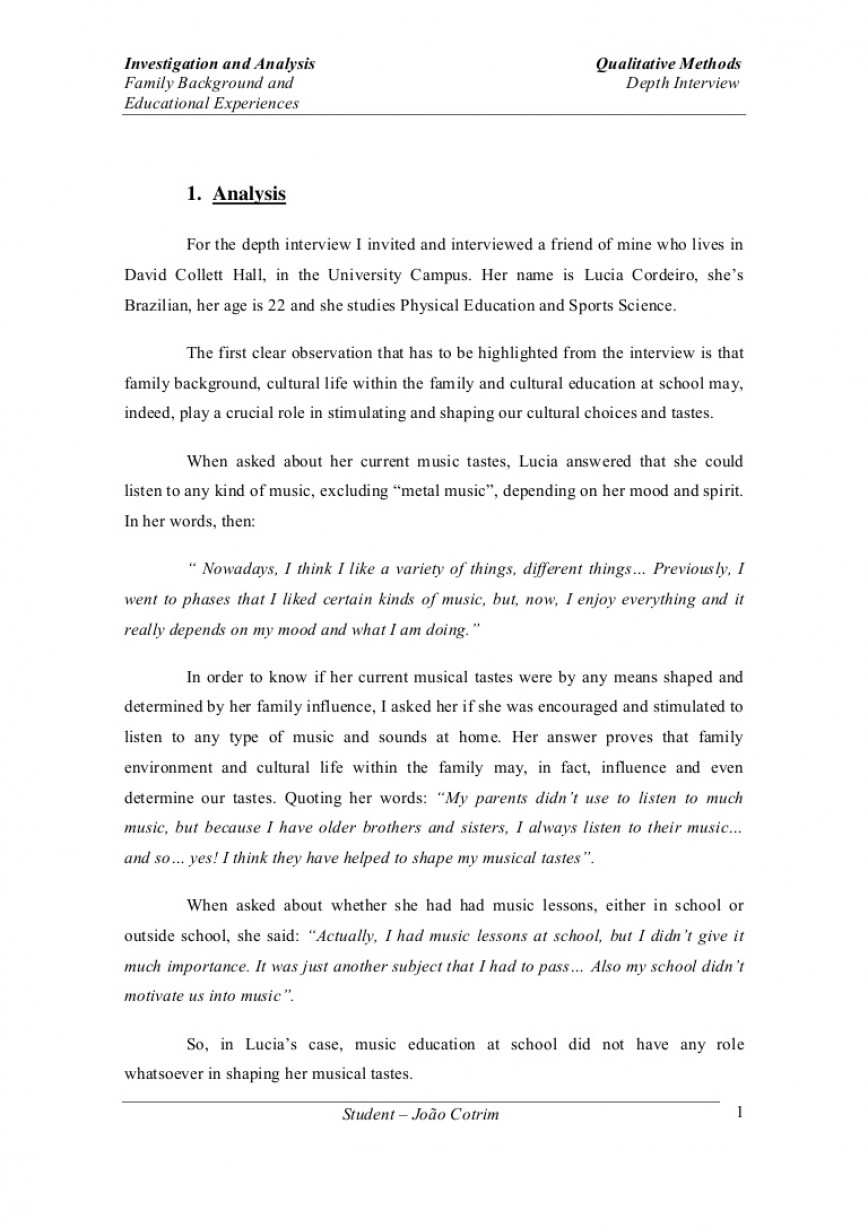 010 Depthinterview Phpapp01 Thumbnail Essay Example Striking Profile How To Start A On Person Homeless 868