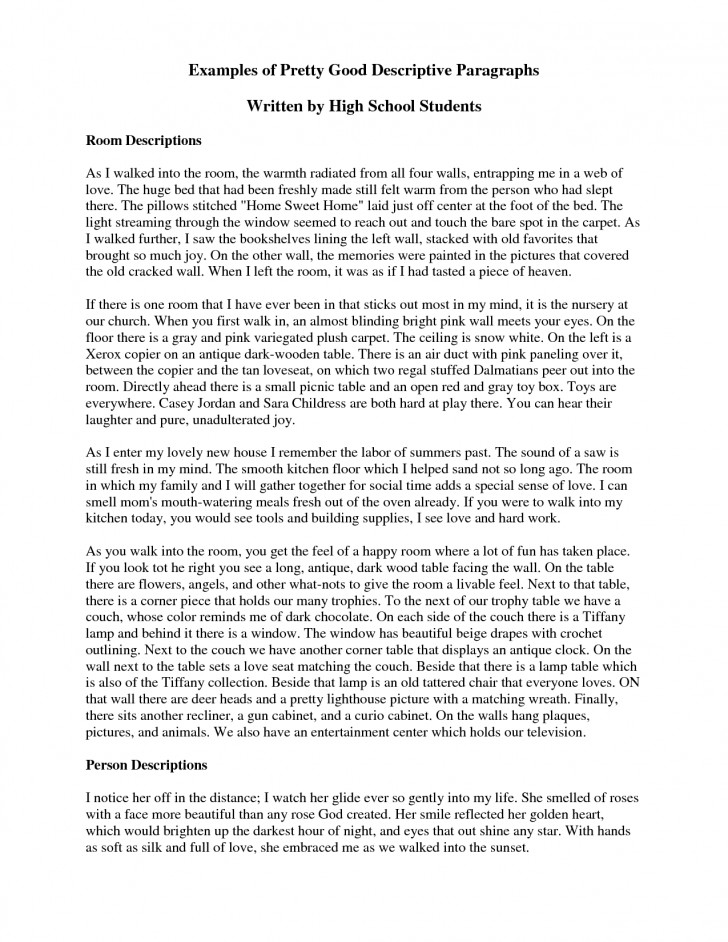 010 Descriptive Essay Example Pdf Short Dreaded About A Person Sample 728