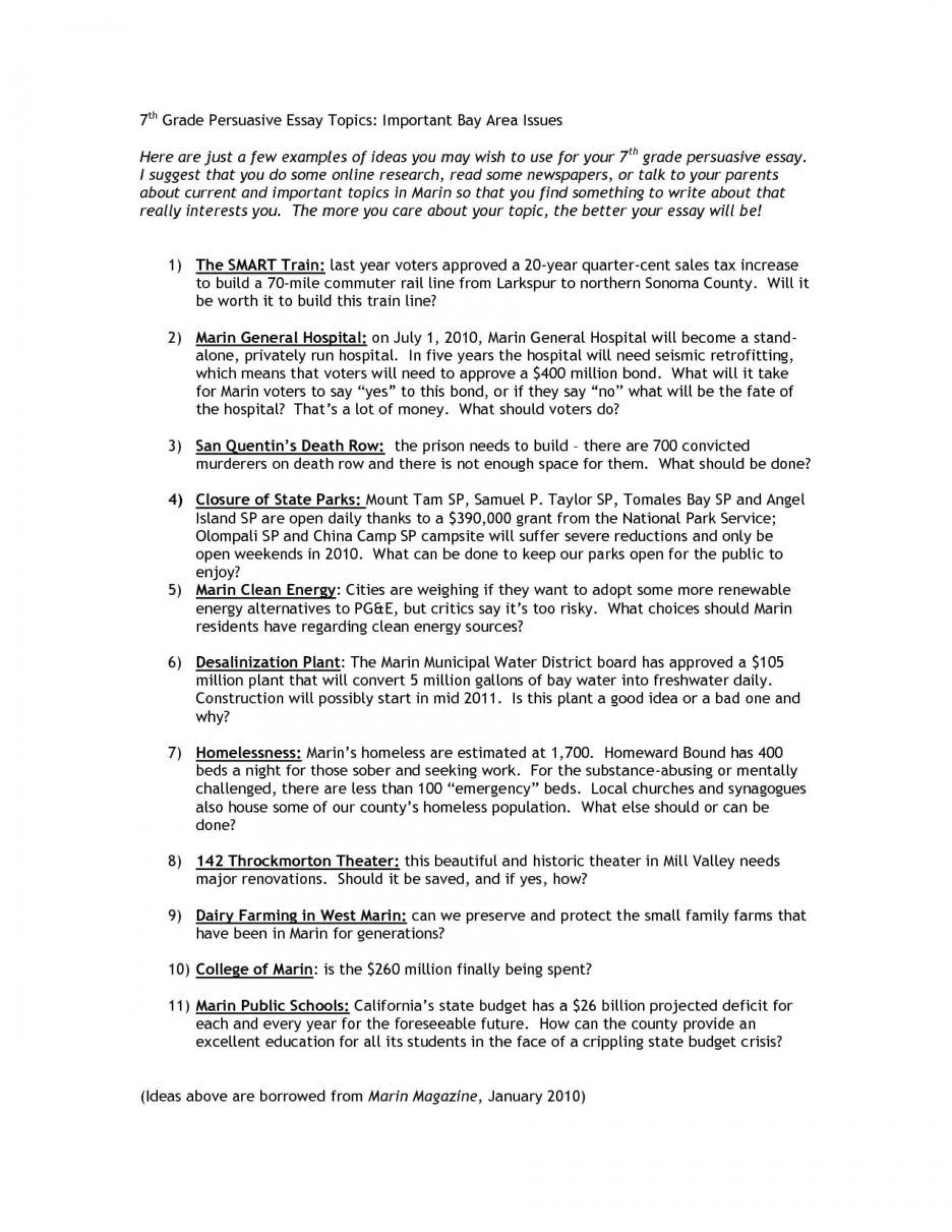 rare 7th grade essay topics