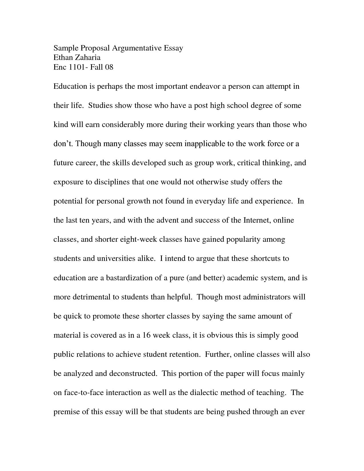 010 Essay Example Argumentative Examples For High School Striking Short Topics Full