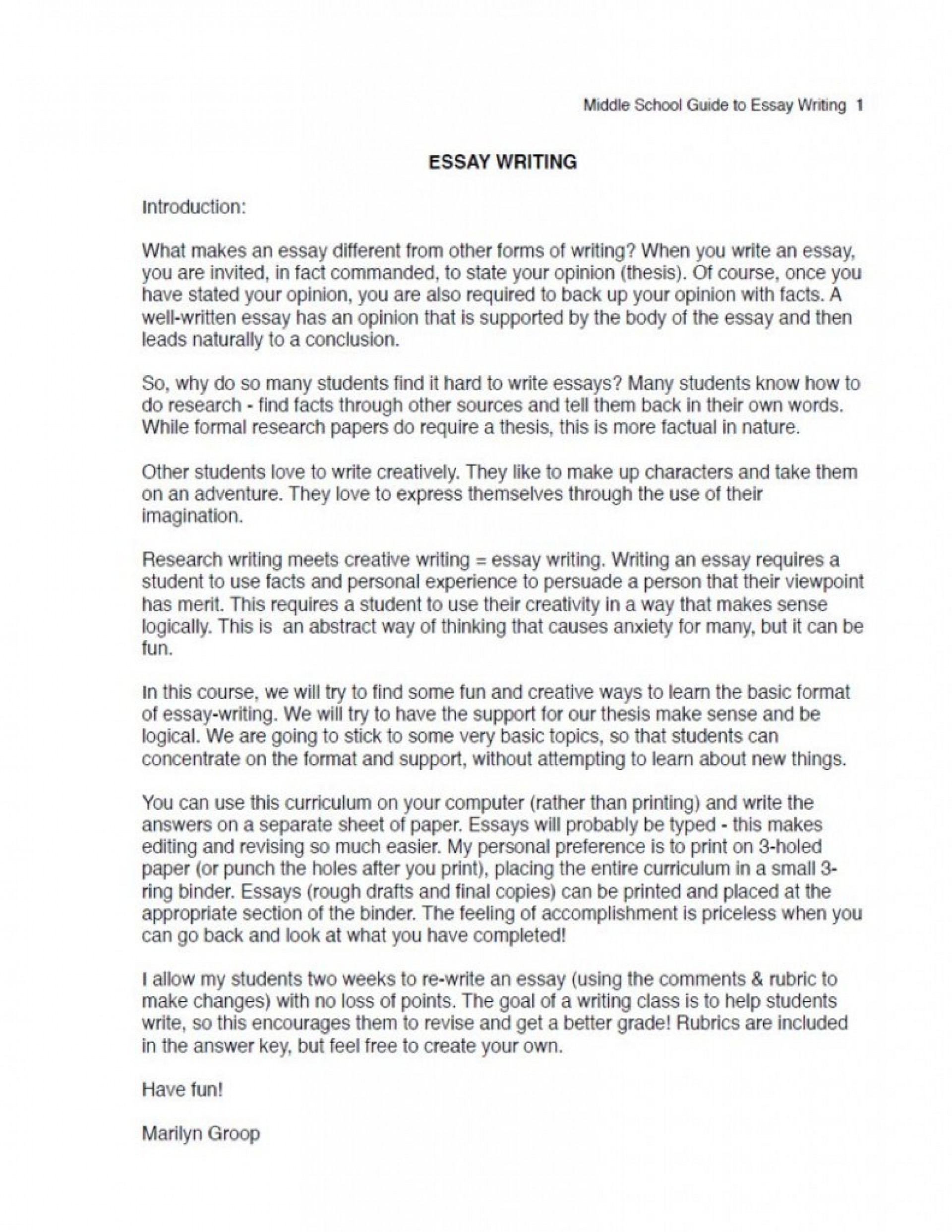 010 Essay Example Argumentative Middle School Ms Excerpt Unbelievable Topics Pdf For 1920