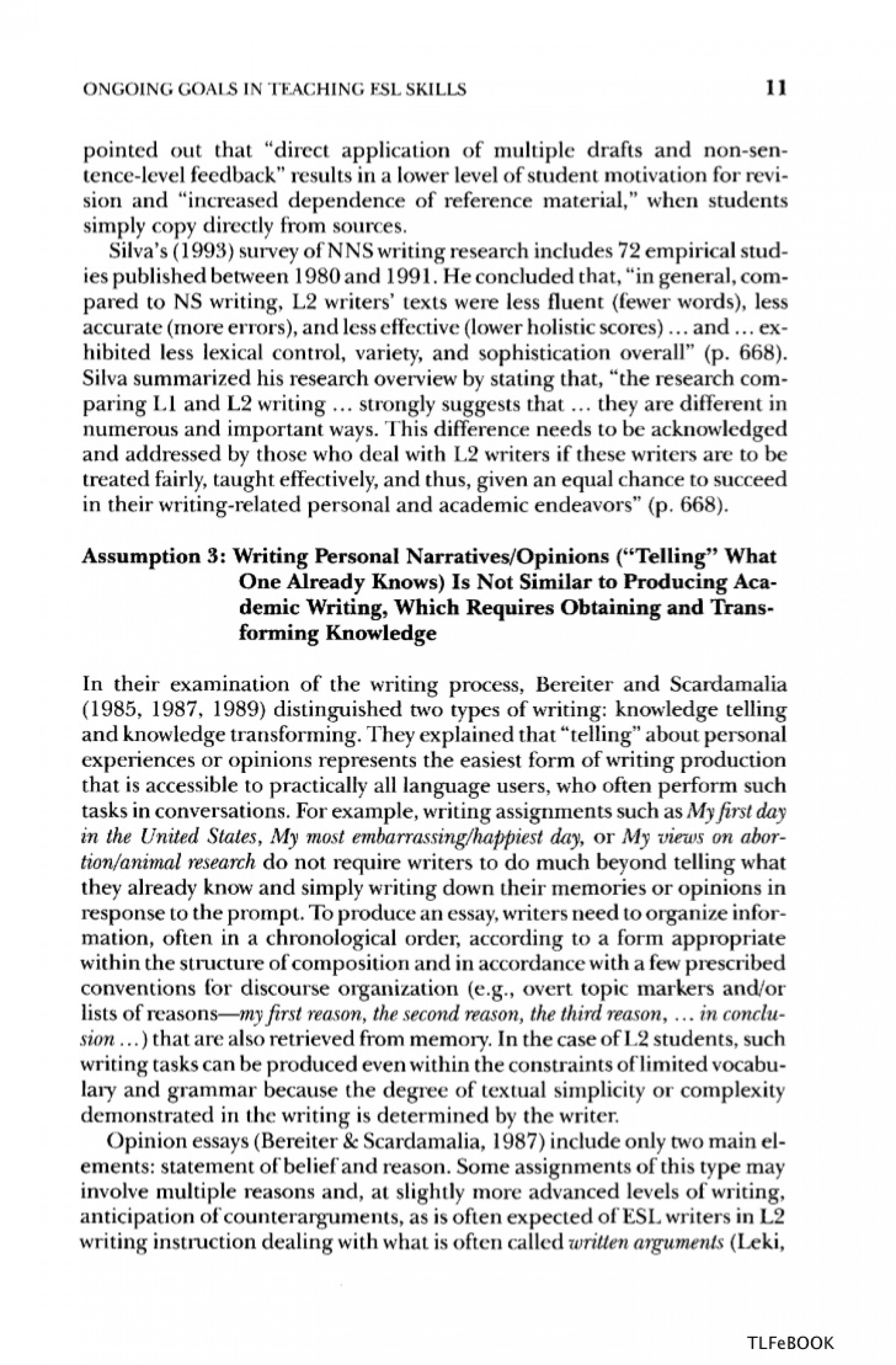 010 Essay Example English Teaching Academic Esl Writing Practical Techniques In Vocabulary And Grammar Singular Family Narrative Ideas Conclusion Life Topics 1920