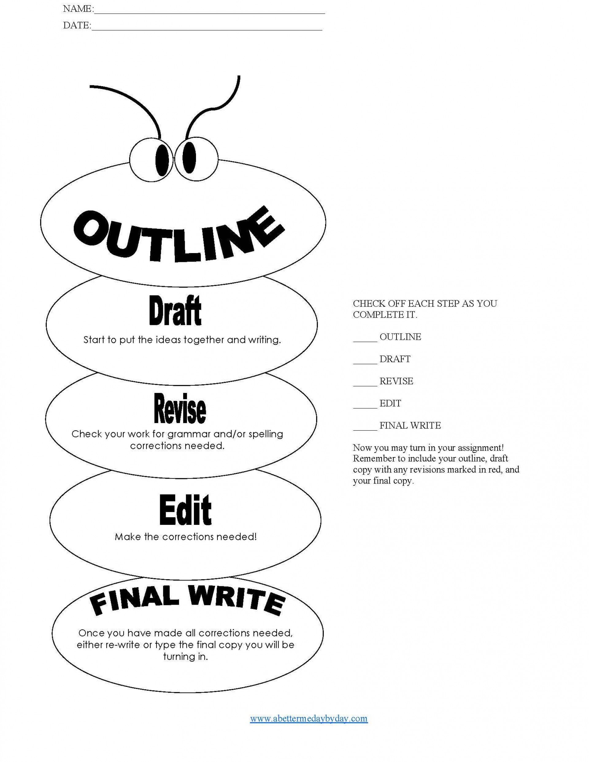 010 Essay Example How To Write Page Hs3 Simple Paragraph Outline Worm Form With Writing Process Check List 1 Phenomenal A 5 In Hour One Day Night 1920