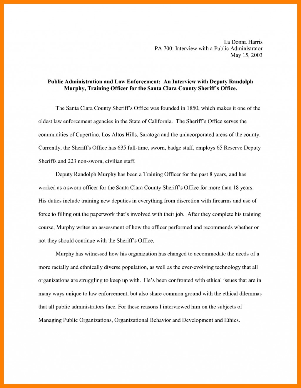 010 Essay Example Narrative Interview Writing An 308901 Exceptional Outline First Job Large