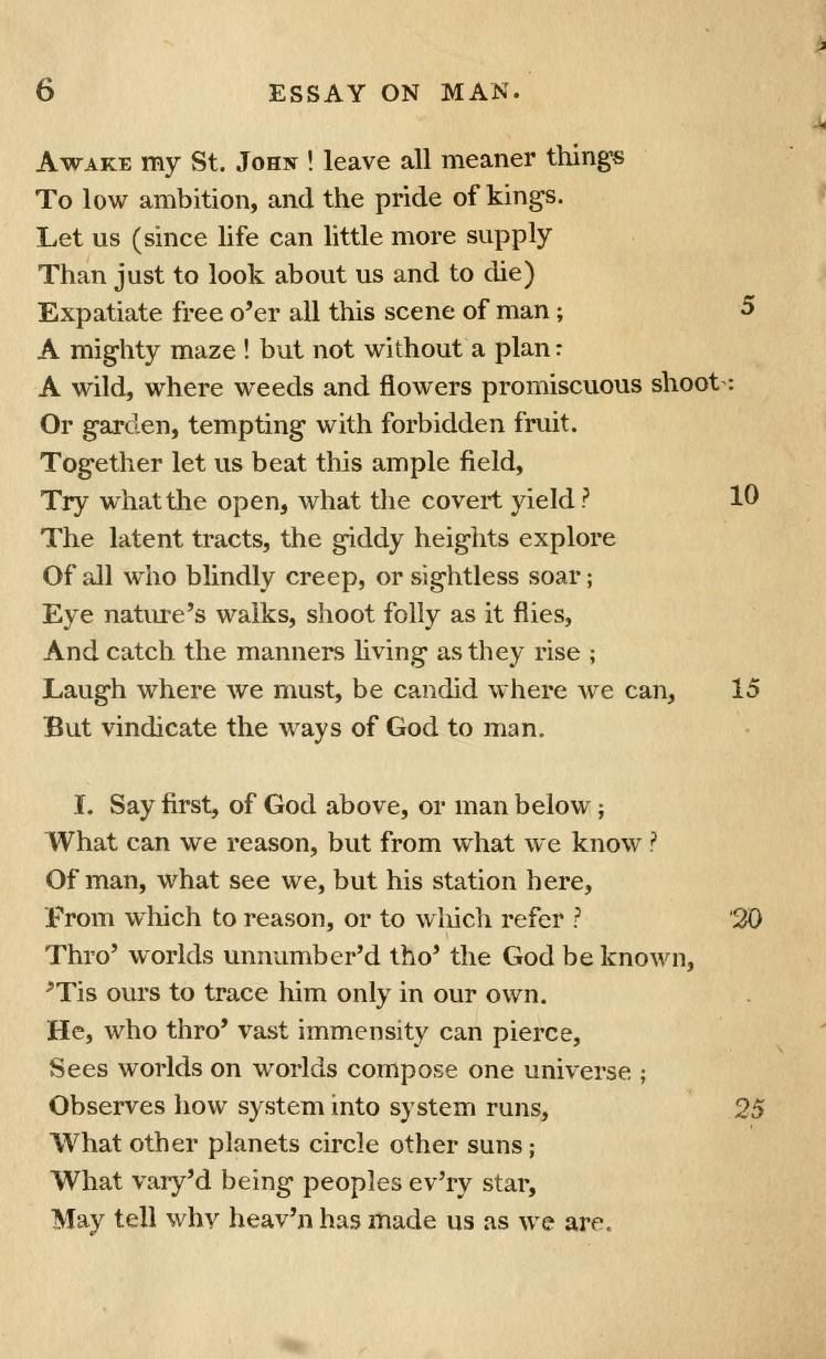critical analysis of essay on man by alexander pope