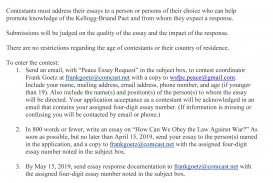 010 Essay Example Peace Contest News Rare In Simple English 2019 Topics
