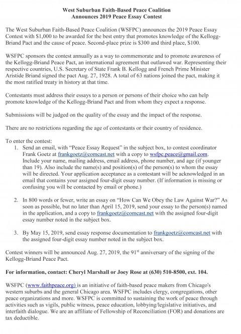 swackhamer peace essay contest