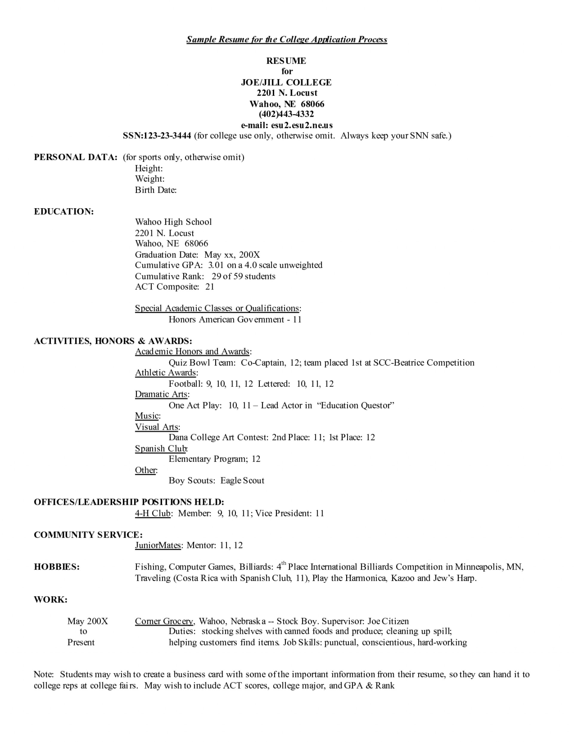010 Essay Example Resume Free For College Application Examples Entrancing High School Sample Remarkable Fsu Admission 1920