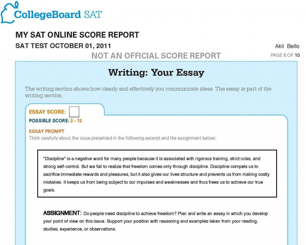 010 Essay Example Sat Test Writing Prompts Examples Score Range Time Limit Format Sample Percentiles Dreaded Breakdown Large