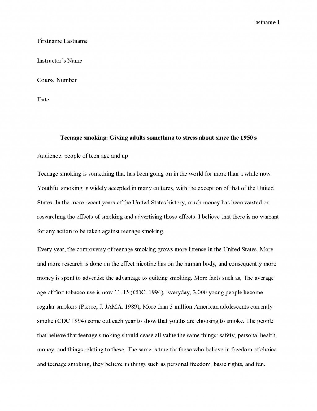 010 Essay Example Teen Smoking Free Sample Page 1 Research Imposing Paper Format Large