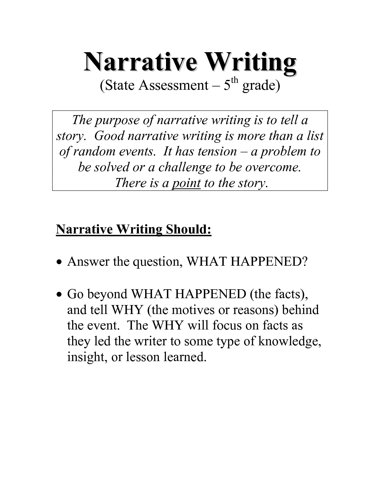 Narrative essay samples