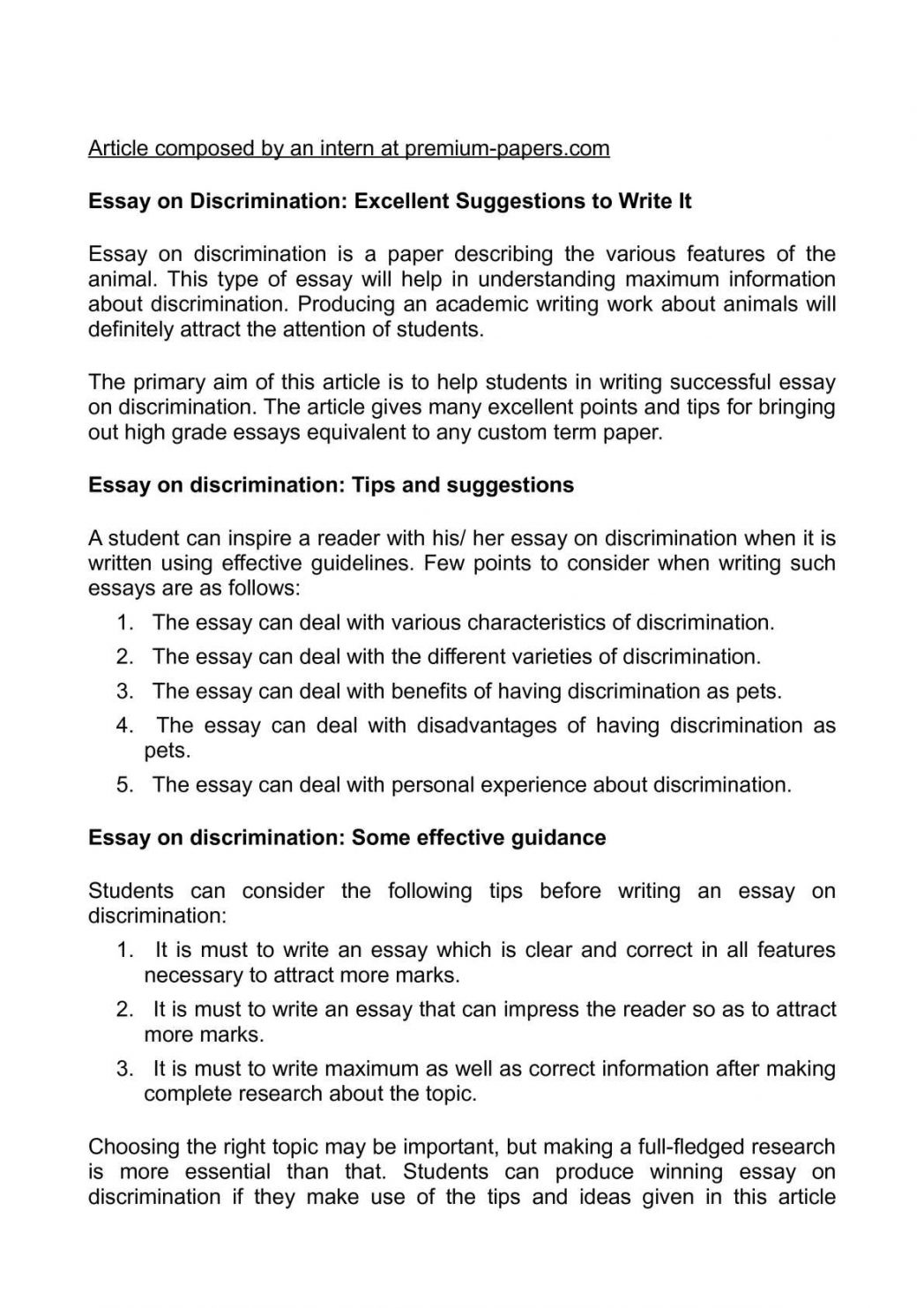 010 Essay On Discrimination Excellent Suggestions To Write It How An Prejudice And Racial Paper 1048x1483 Wonderful Kill A Mockingbird Title Theme Topics Full