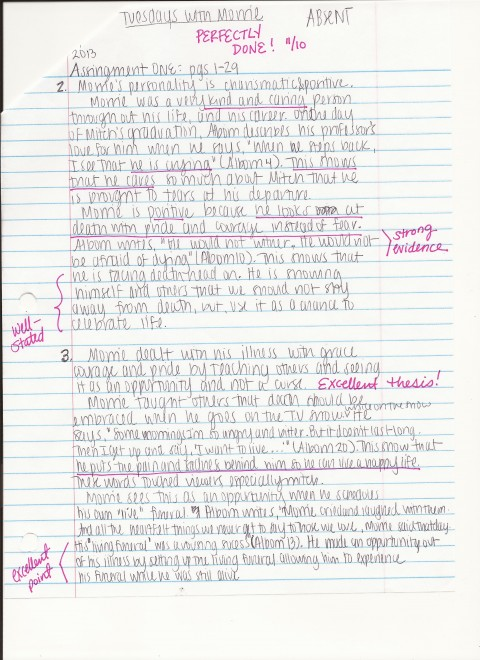 010 Essay On Tuesdays With Morrie Example How To Answer Unusual Analytical Reflection Paper Argumentative 480
