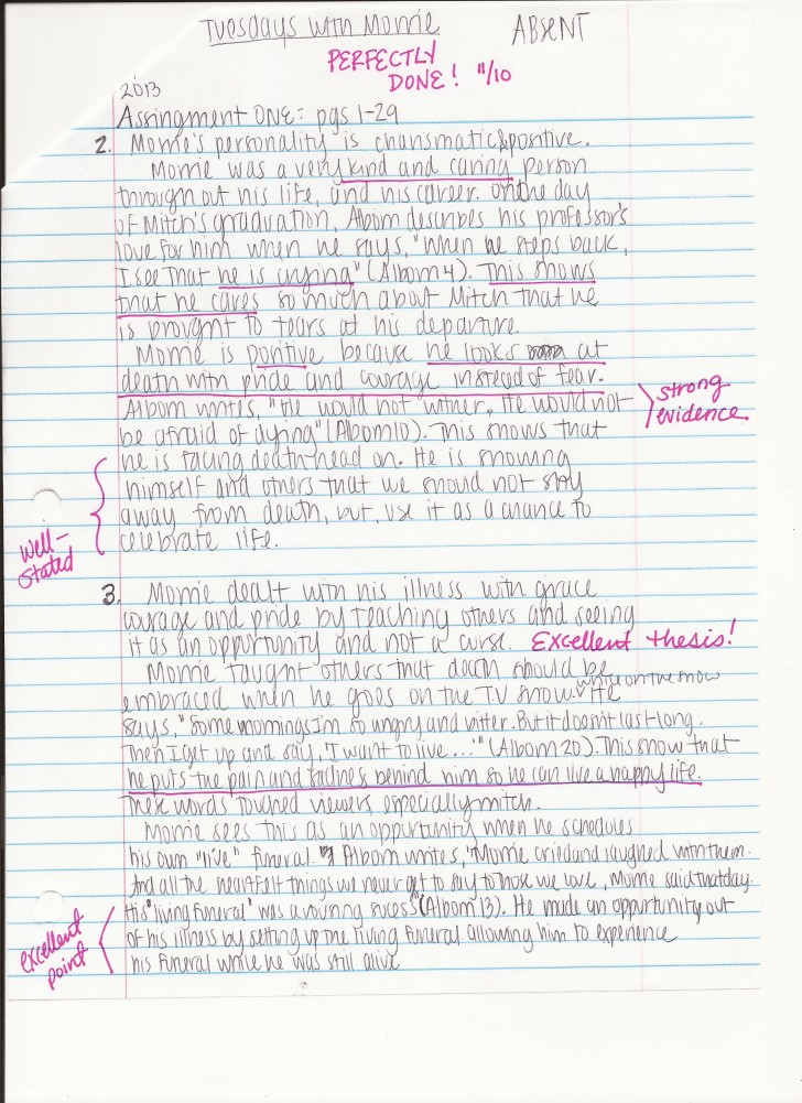 010 Essay On Tuesdays With Morrie Example How To Answer Unusual Analytical Reflection Paper Argumentative 728