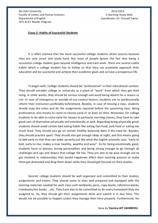 010 Essay2 Succesfulcollegestudentshabitsbyyassineaithammou Phpapp01 Thumbnail Student Essay Awesome Sat Examples Transfer Large