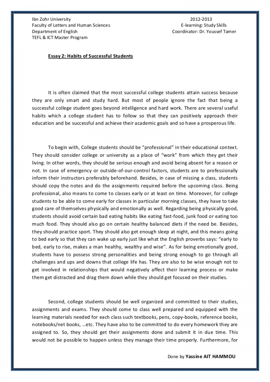 010 Essay2 Succesfulcollegestudentshabitsbyyassineaithammou Phpapp01 Thumbnail Student Essay Awesome Sat Examples Transfer 1920