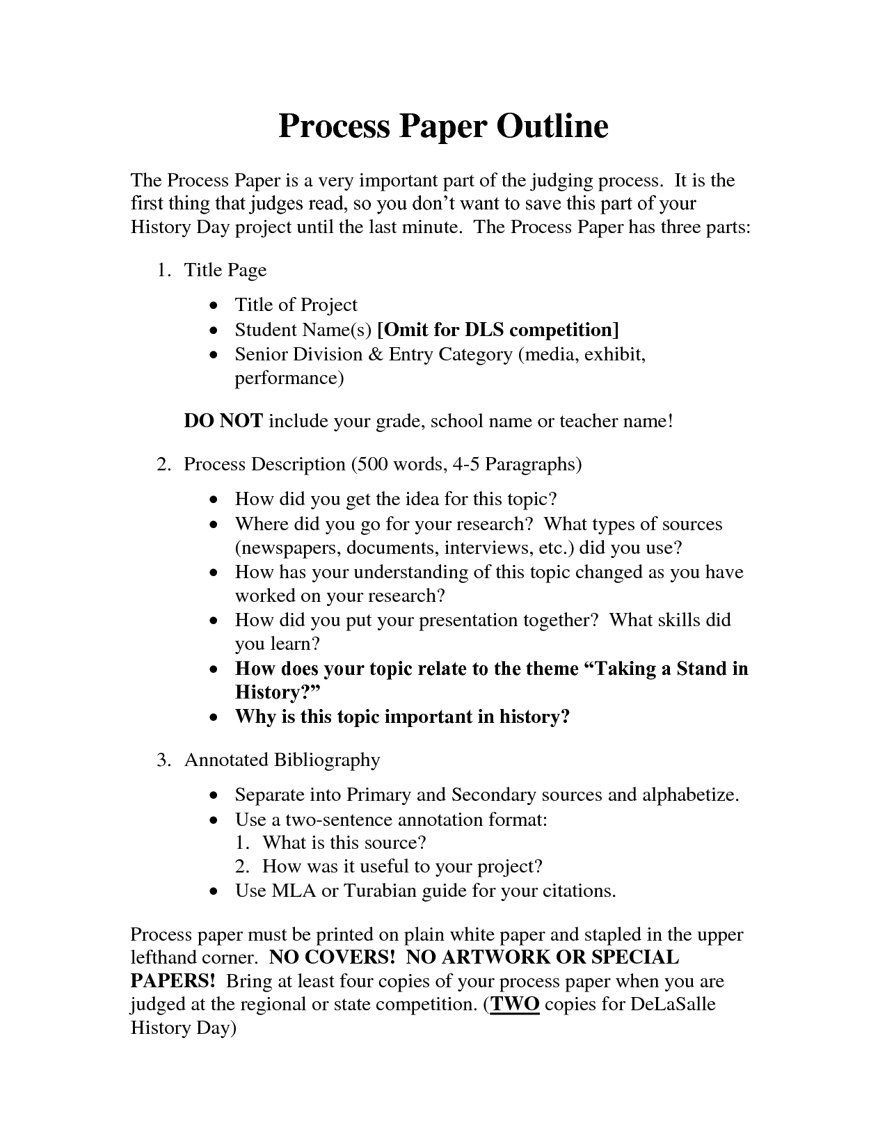 Process essay samples
