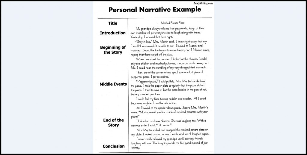 010 Example Of Narrative Magnificent Essay Examples A About Yourself Pdf Outline Large