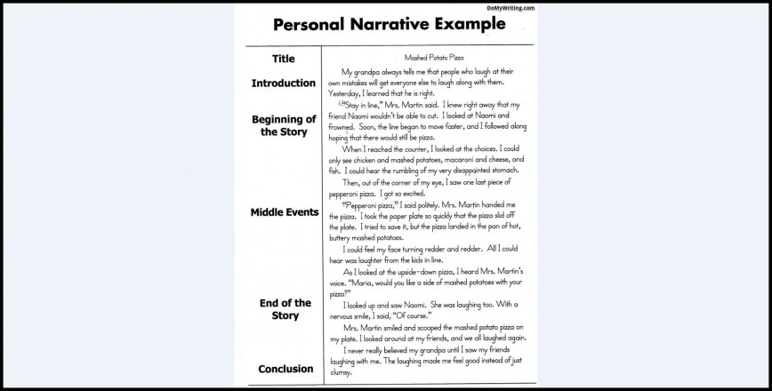 010 Example Of Narrative Magnificent Essay Examples A About Yourself Pdf Outline 868