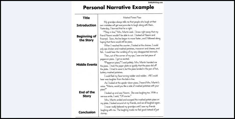 010 Example Of Narrative Magnificent Essay Examples A About Yourself Pdf Outline 960