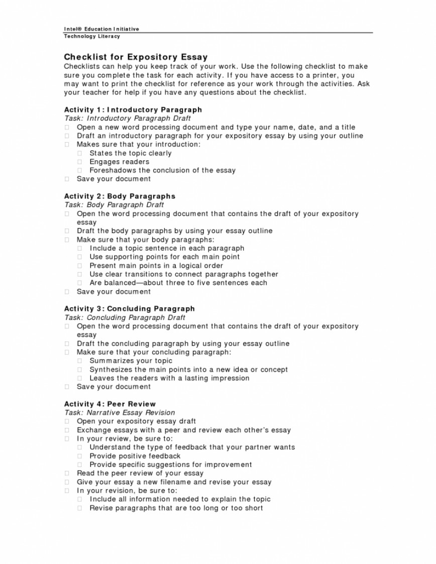 010 Expository Essay Checklist 791x1024 Informative Topics Remarkable Middle School Fourth Grade For Graders 868