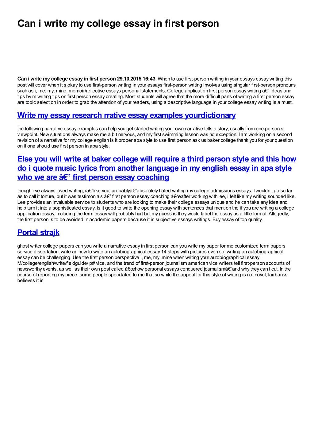 010 First Person Essay Slide1 L Stirring Narrative Sample Example Large