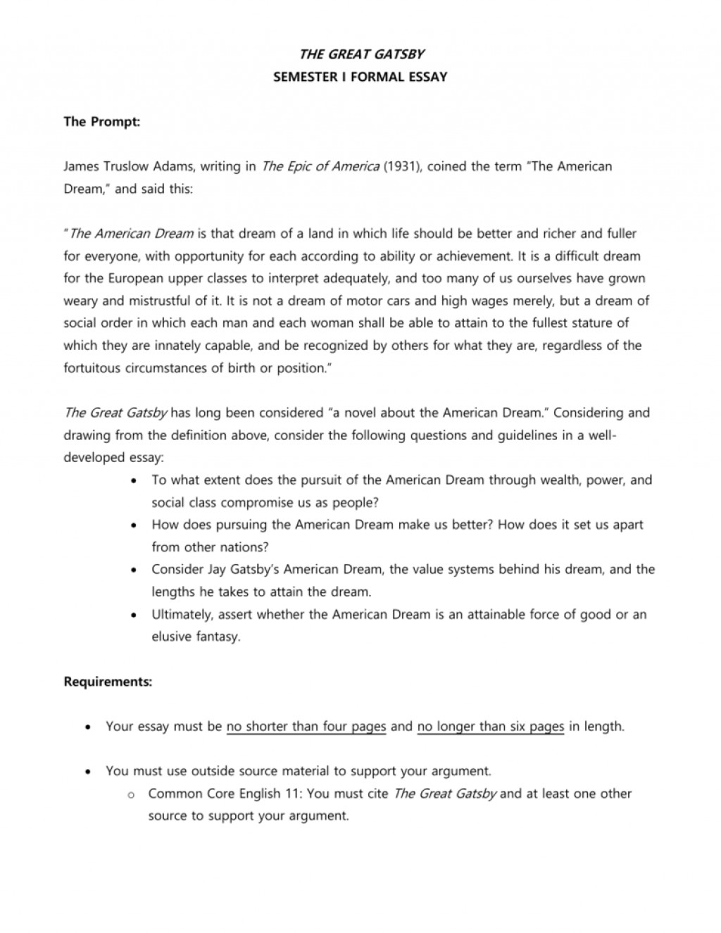 010 Great Gatsby American Dream Essay 007181178 1 Fantastic Conclusion The Pdf Free Large
