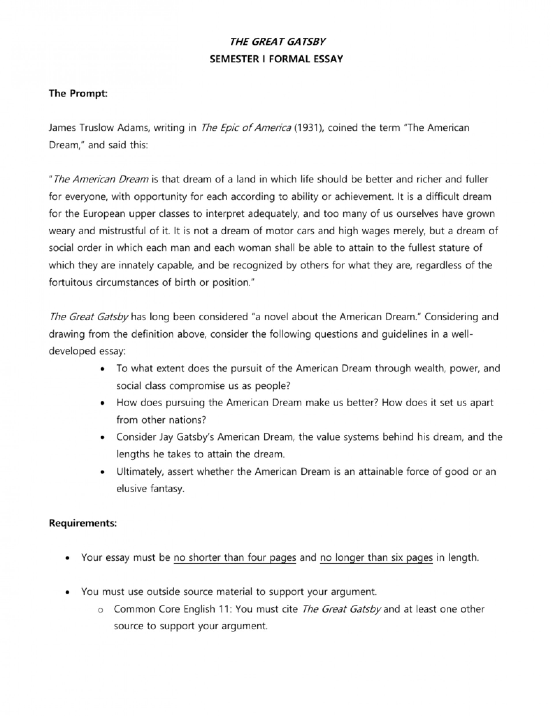 010 Great Gatsby American Dream Essay 007181178 1 Fantastic Conclusion The Pdf Free 1920