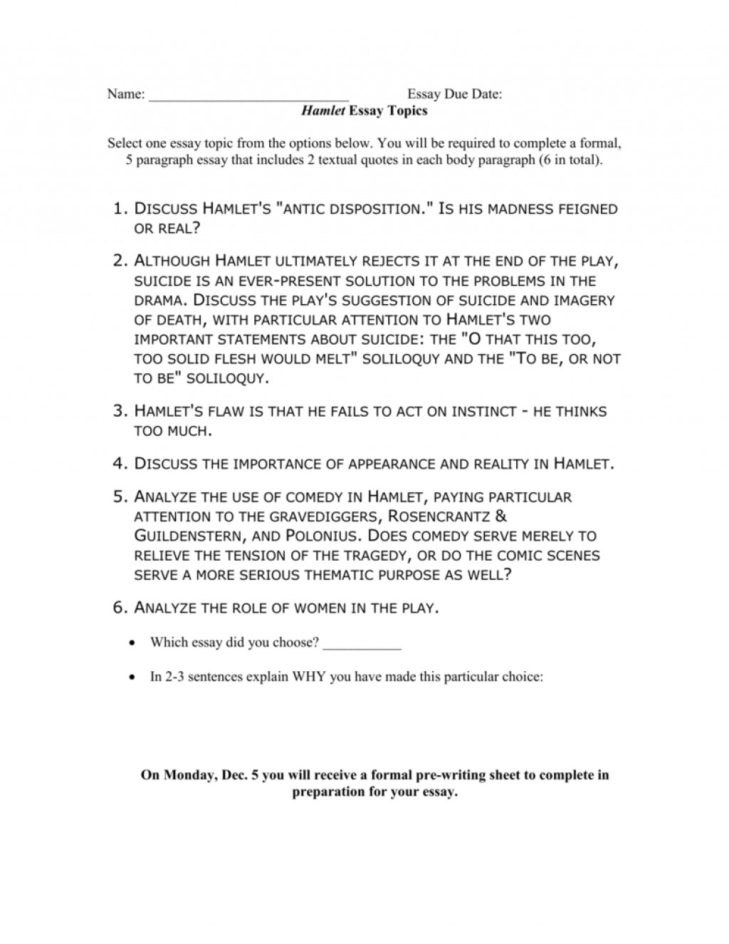 010 Hamlet Madness Essay Example 008023648 1 Stupendous Outline Theme Large
