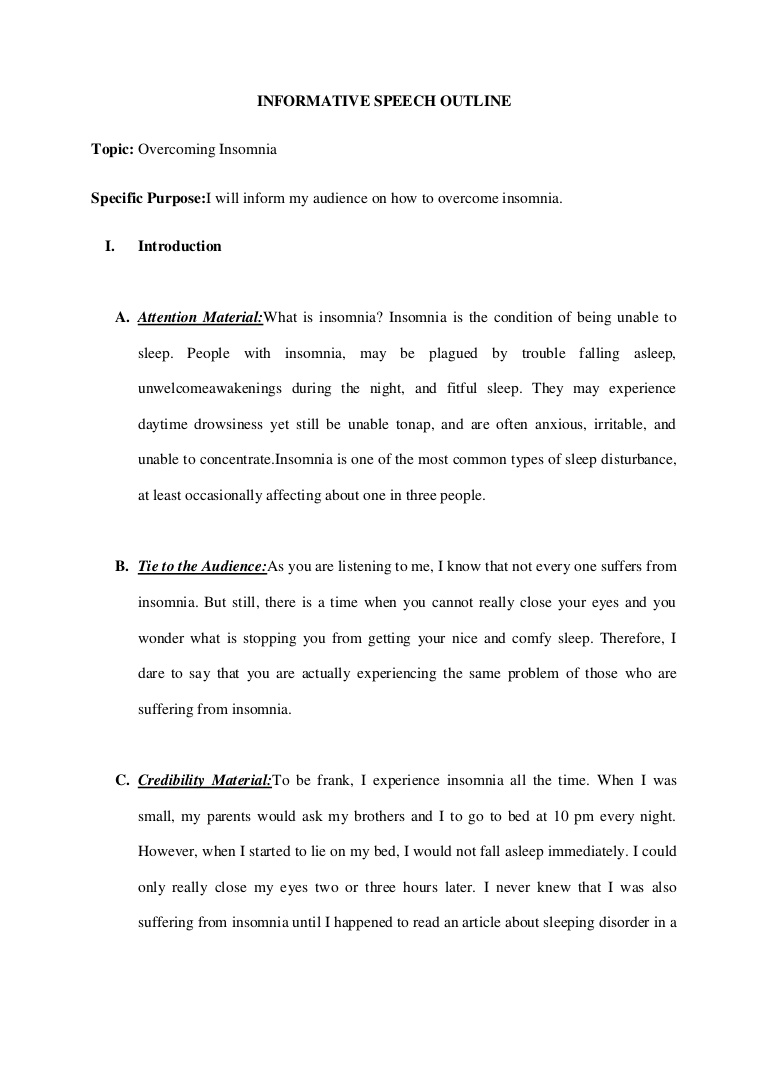 010 Informativespeechoutlineovercomeinsomnia Phpapp02 Thumbnail Essay Example Animal Fearsome Abuse Outline Conclusion Essays Free Full