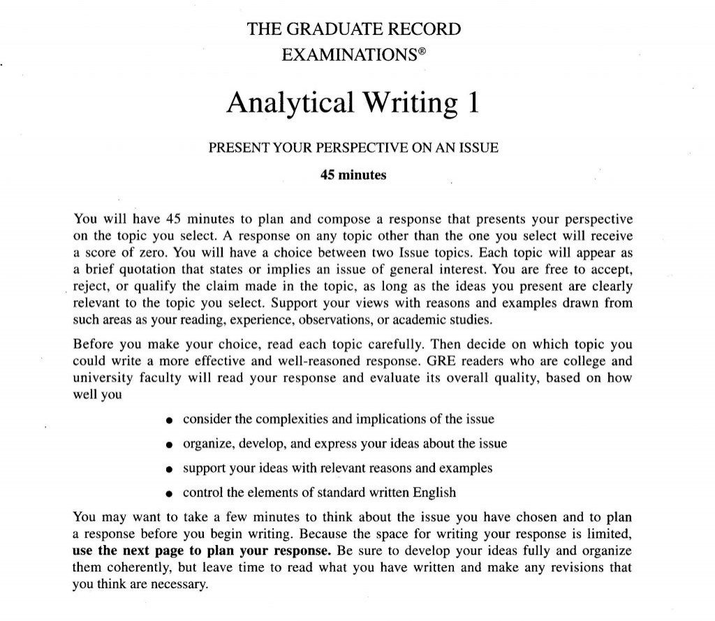 010 Lyric Essay Examples Example Analytical Writing Issue Task Directions For Gre Good Awesome Large