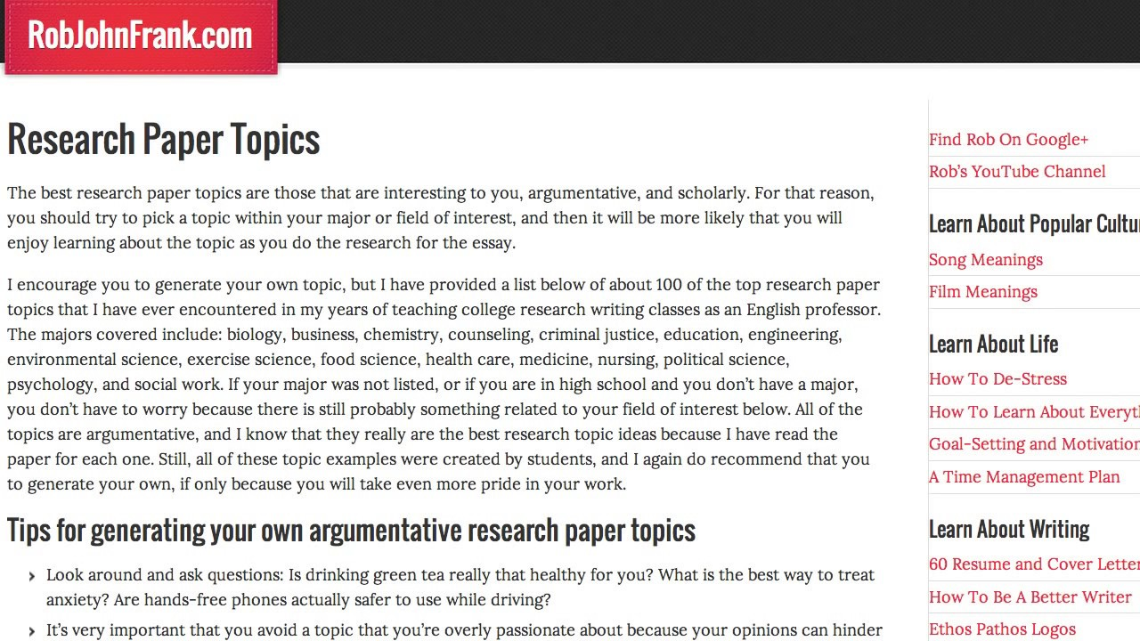 010 Maxresdefault Good Research Essay Topics Awesome Argumentative Paper For College High School English Psychology Class Full
