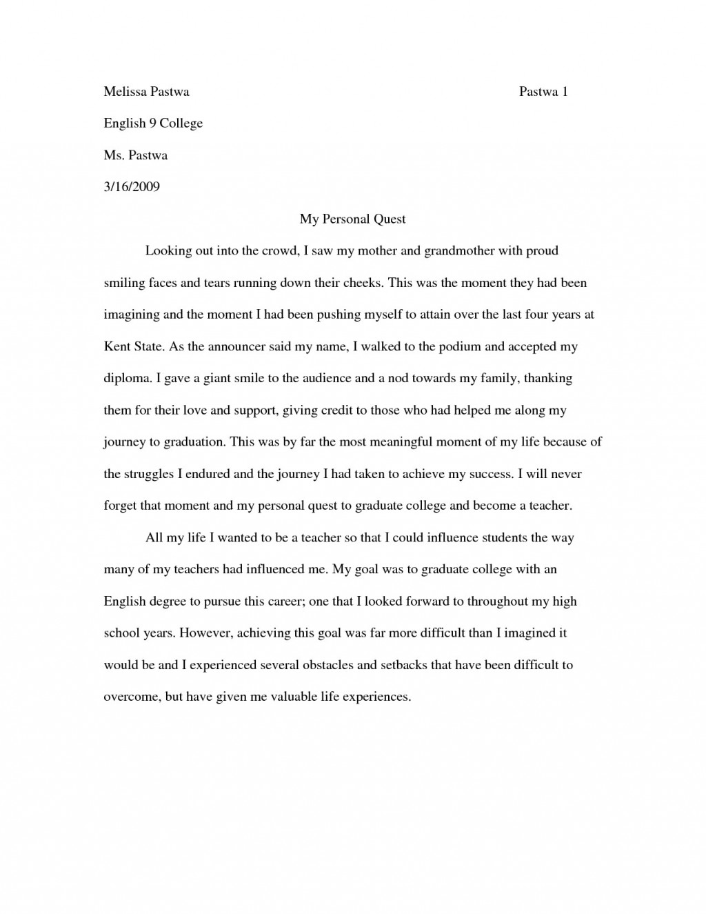 010 My Most Influential Teacher Essay Example Personal Narrative Examples For Colleges Sample Notes Fascinating Large