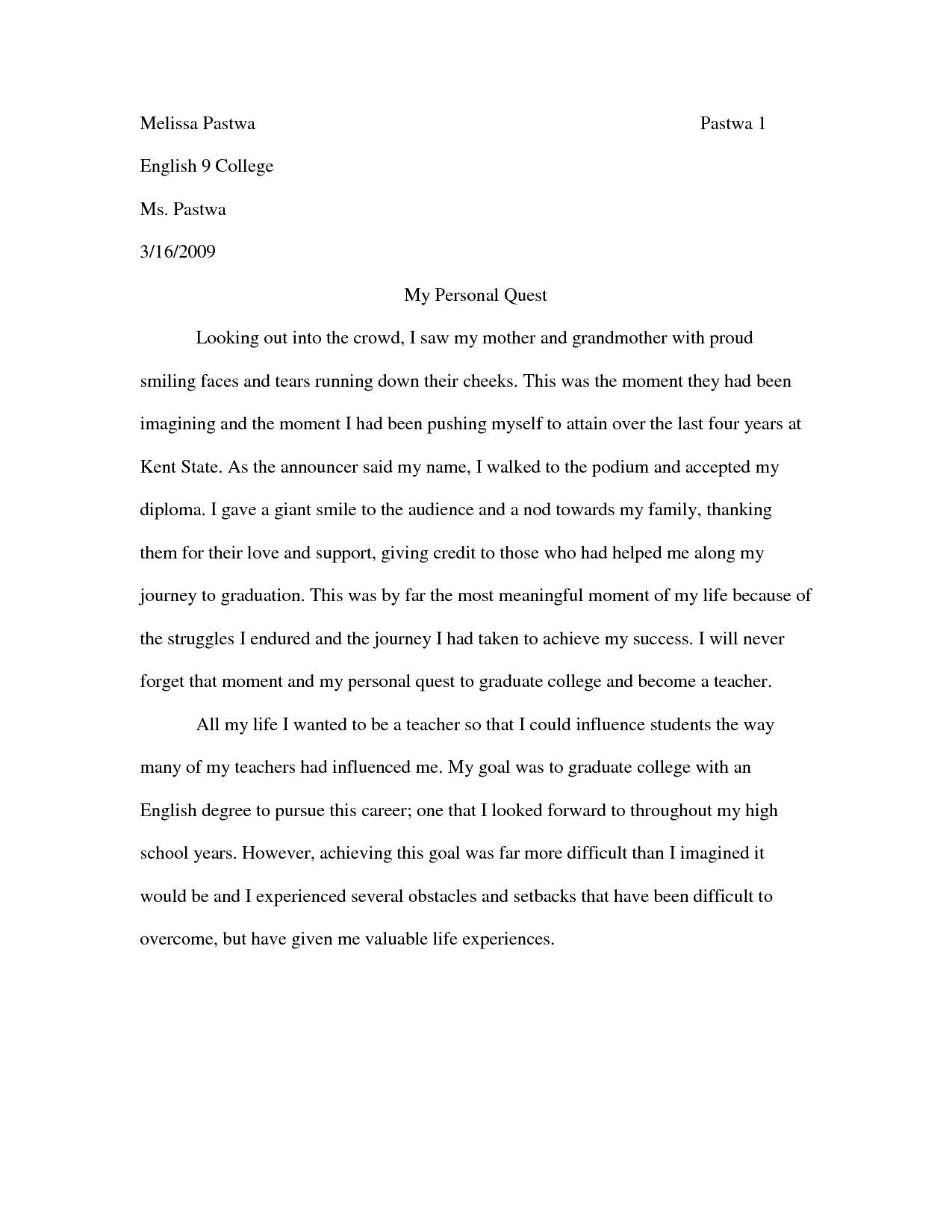 010 My Most Influential Teacher Essay Example Personal Narrative Examples For Colleges Sample Notes Fascinating Full