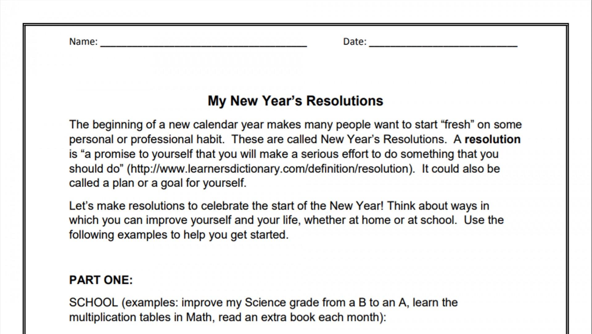 010 My New Year Resolution Essay Singular High School Student 2019 For Class 5 1920