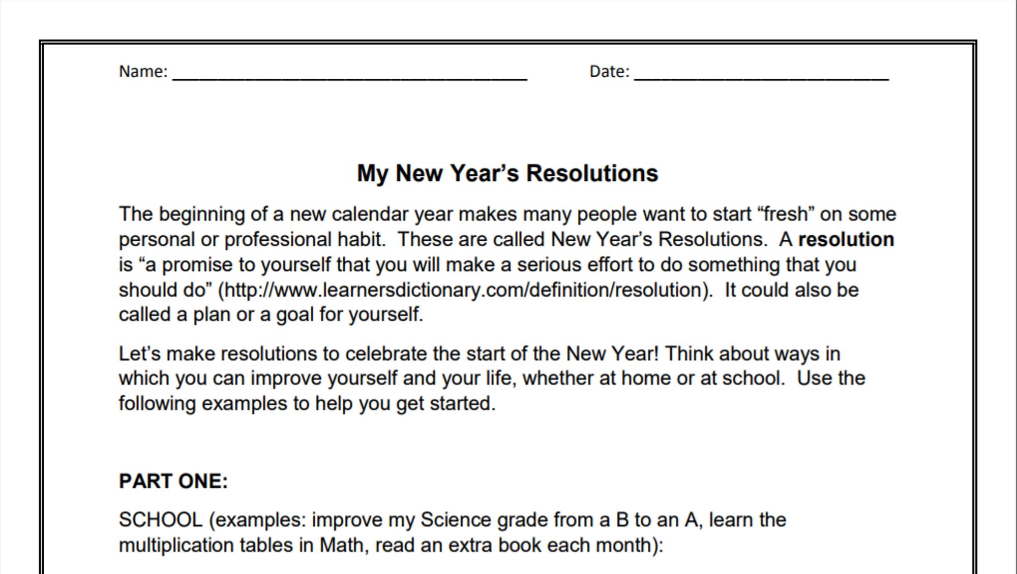 010 My New Year Resolution Essay Singular High School Student 2019 For Class 5 Full